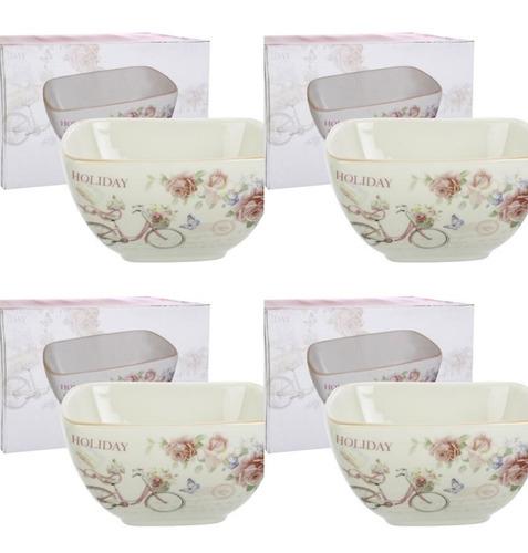 set de 4  bowls  de ceramica cuadrado linea holiday rosa