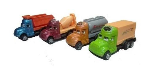 set de 4 camiones plasticos para niños, carros, juguete