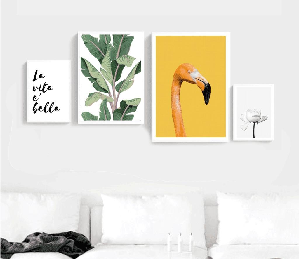 Set De 4 Cuadros Flamingo (set Large - Marcos Color Madera ...