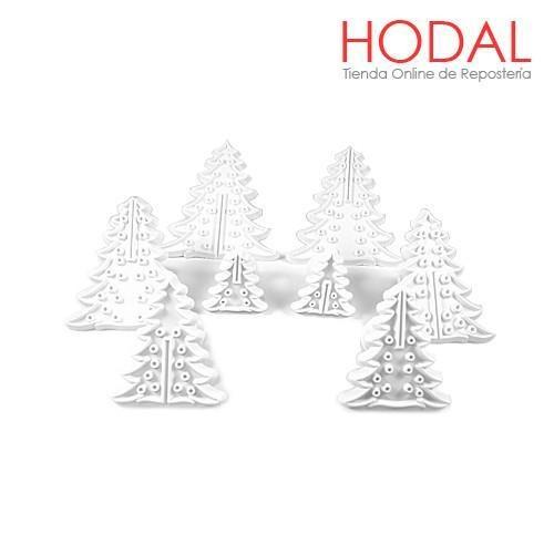 Set De 4 Moldes Arbol De Navidad 3d Para Fondant 2780 en