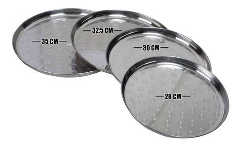 set de 4 moldes / bandejas redondas de acero inoxidable