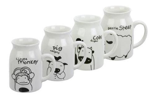 set de 4 mugs ,tazas  milk menu surtido varios  diseños