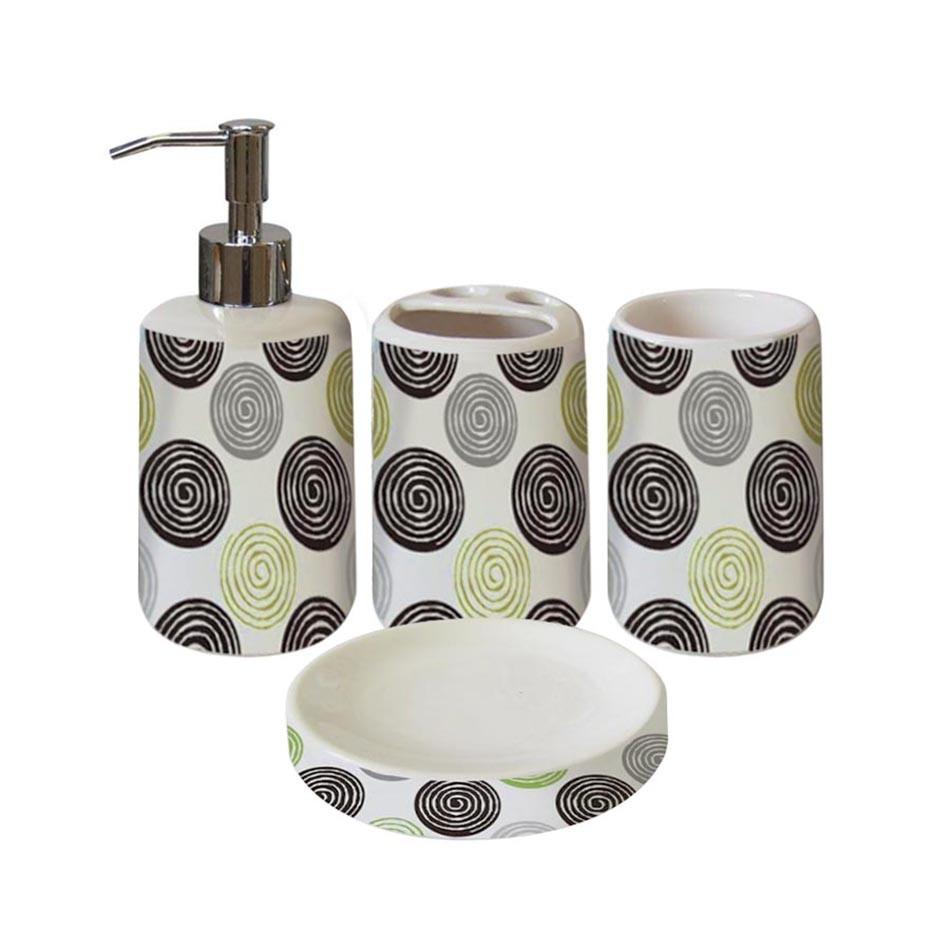 Set de 4 piezas de accesorios para ba o en loza selecta - Accesorios de loza para bano ...