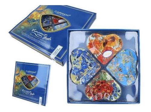 set de 4 platos corazon van gogh en cristal