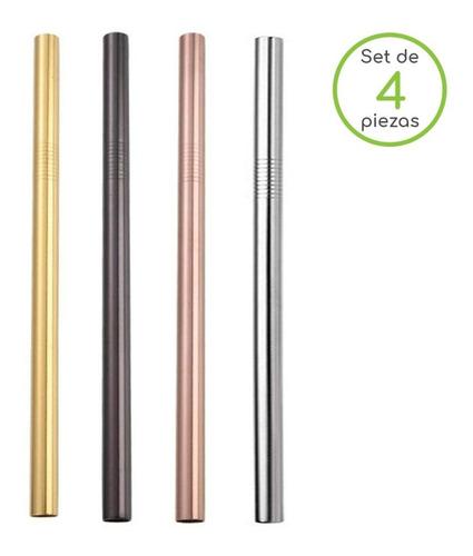 set de 4 popotes ecológicos reutilizables acero inox tapioca