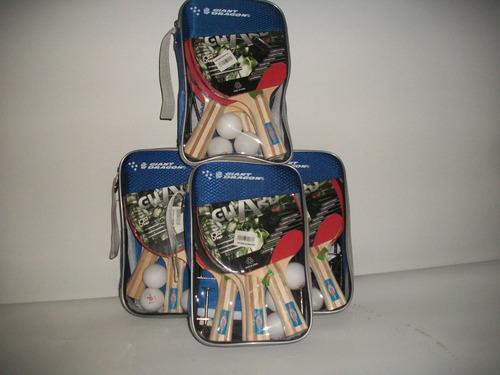 set de 4 raquetas de tenis de mesa ping pong con malla