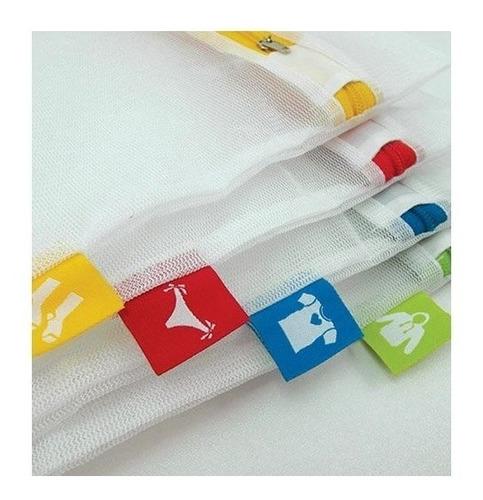 set de 4! red malla bolsa para lavadora secadora ropa
