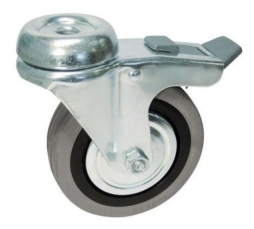 set de 4 rueda d goma gris 100mm giratoria p/ perno c/ freno