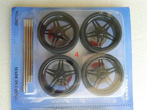 set de 4 ruedas custom tuning autos camionetas escala 1/24