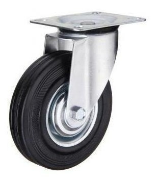 set de 4 ruedas de goma con base giratoria 100mm código 122