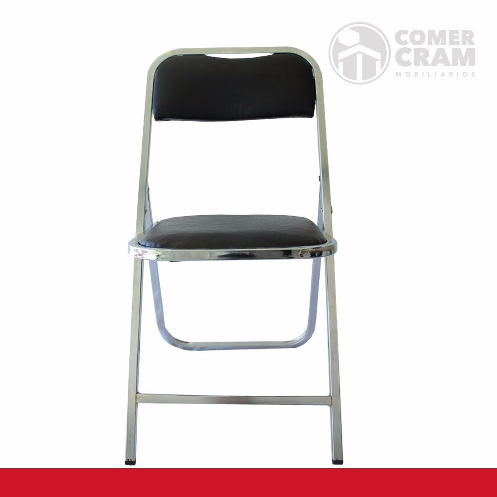 Set de 4 sillas plegables cromadas acojinadas for Sillas cromadas