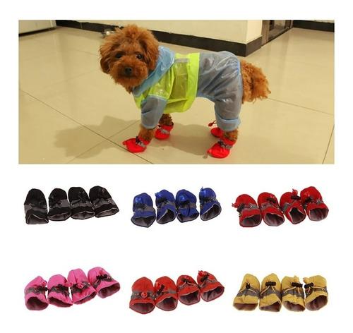 set de 4 zapatos botas impermeables para perro ajustables