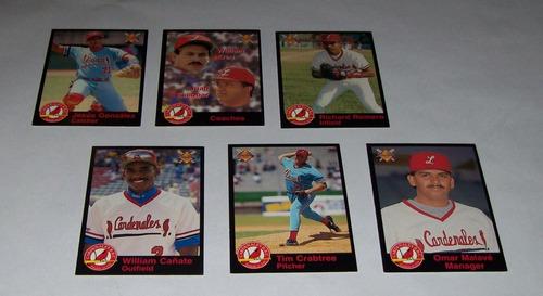 set de 42 barajitas de beisbol venezolano años 95-96 y 97-98