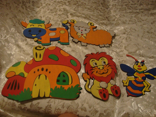 set de 5 aplicaciones decorativas infantiles