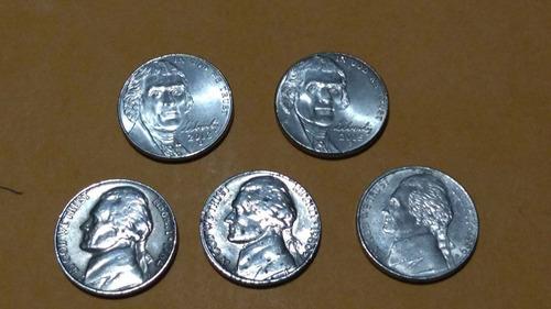 set de 5 de monedas americanas diferentes años