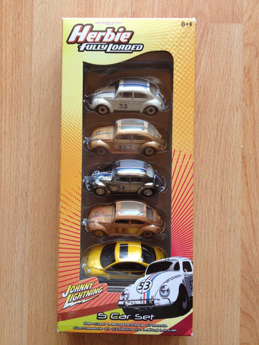 set de 5 herbie vw vocho johnny lightning , beetle set a