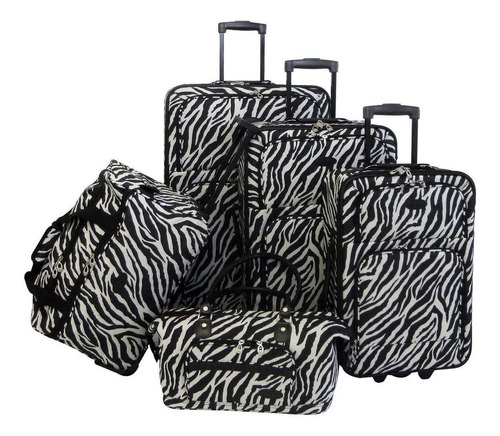 set de 5 maletas american flyer animal print 5 pc spinner