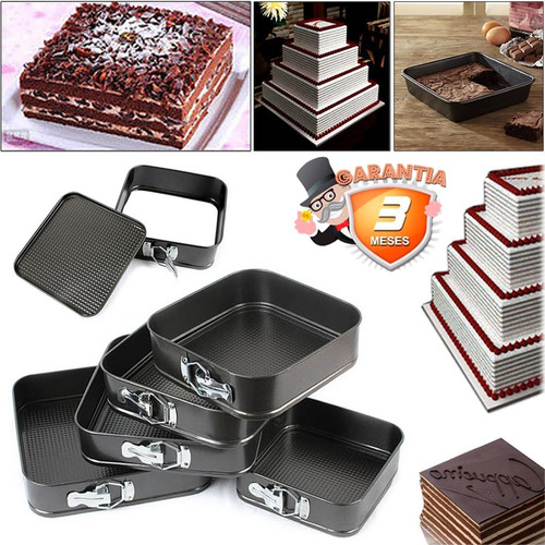 set de 5 moldes cuadrados de torta antiadherente / disparocl