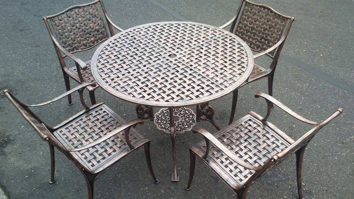 Set de 5 piezas comedor al aire libre mesa y sillas de for Sillas jardin aluminio