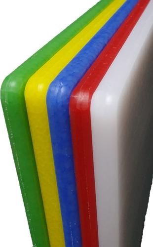 set de 5 tablas para picar/corte de colores, de 30x45 en 1/2