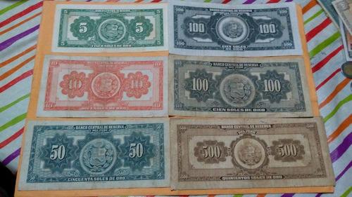 set  de 6 billetes antiguos   de los  años 60
