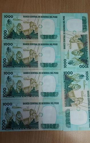 set  de 6 billetes de  1000  soles  1981