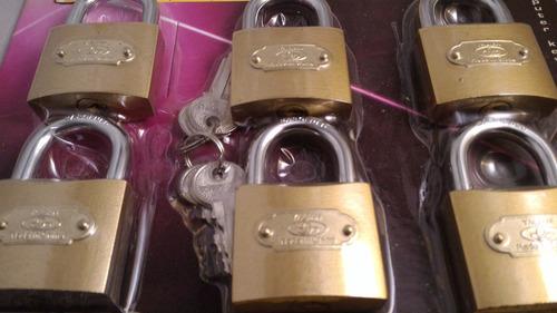 set de 6 candados de 50mm igualados - misma llave maestra