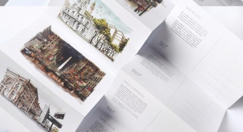 set de 6 postales con mapa y sobre contenedor