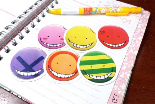 set de 6 stickers circulares anime assassination classroom