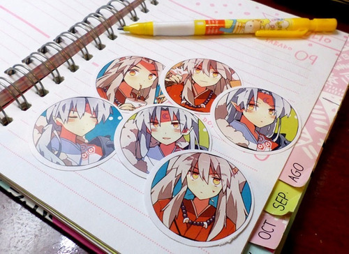 set de 6 stickers circulares de anime - inuyasha