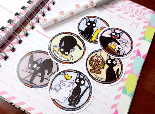 set de 6 stickers circulares de anime kiki studio ghibli