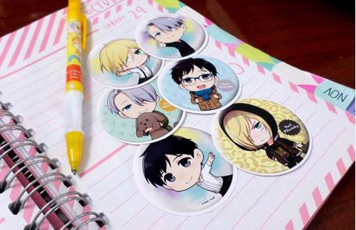 set de 6 stickers circulares de anime - yuri on ice