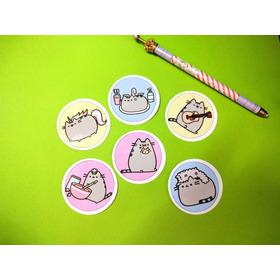 Set De 6 Stickers Circulares De Pusheen Kawaii Gato