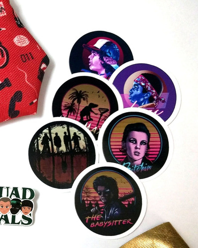 set de 6 stickers circulares de stranger things eleven mike