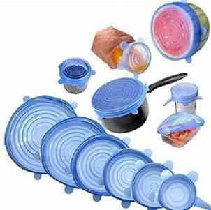 set de 6 tapas silicona para cualquier recipiente