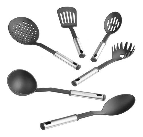 set de 6 utensilios de cocina carol c/ soporte nylon cuotas