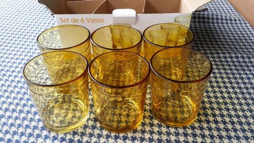 set de 6 vasos de vidrio 9oz