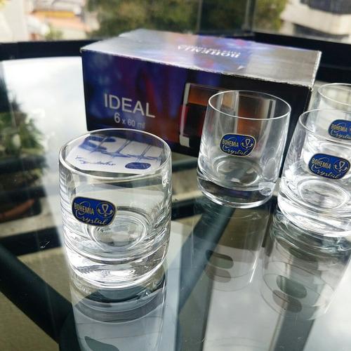 set de 6 vasos shot cristal de bohemia 22verdes