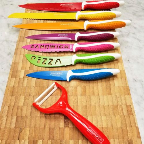 set de 7 cuchillos colores acero inoxidable pelapapas cheff