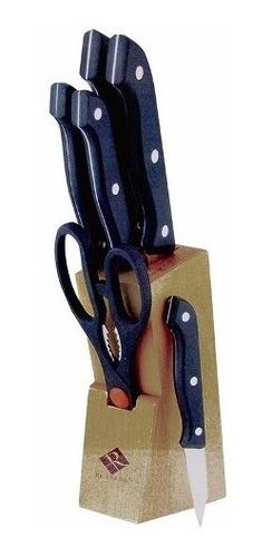 set de 7 cuchillos s/s bloque madera