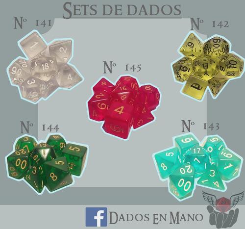set de 7 dados de rol - d4, d6, d8, d10 x2, d12, d20 d&d