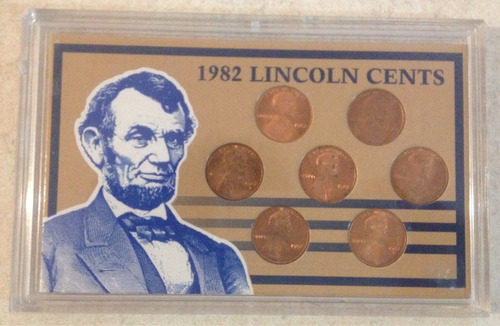 set de 7 monedas de 1982 centavo lincoln