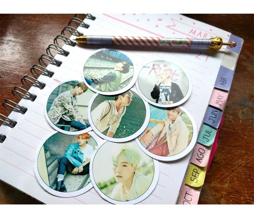 set de 7 stickers circulares de k-pop - bts