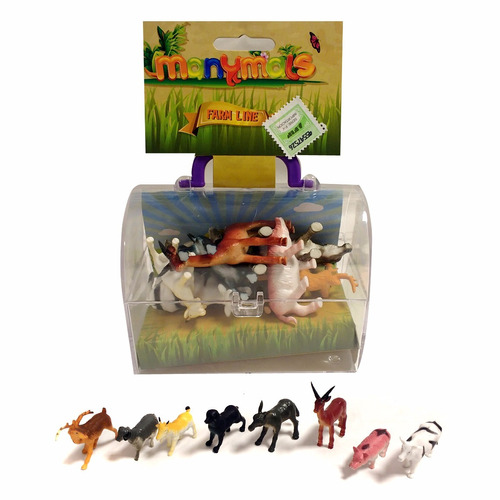 set de 8 animales granja en caja de acrilico manymals