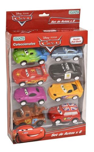 set de 8 autos cars autitos pull back rayo ditoys original