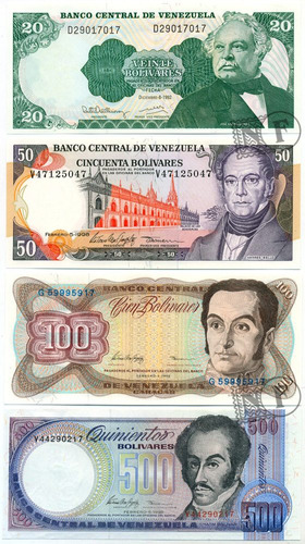 set de 8 diferentes billetes de venezuela au/ sin circular