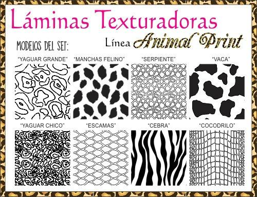 set de 8 láminas texturadoras animal print parpen