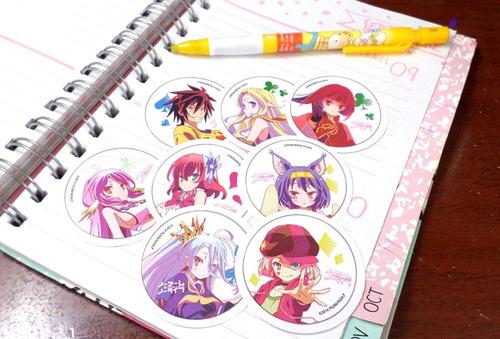 set de 8 stickers circulares de anime - no game no life