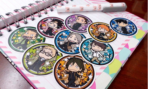 set de 9 stickers circulares de anime - haikyuu!