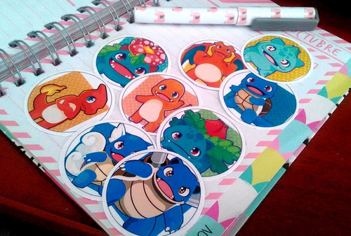 set de 9 stickers circulares de anime - pokemon
